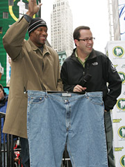 Jared Fogle (right) might be wooden in ads, but he's become irreplaceable for Subway. He's currently on a tour showing off his old jeans.