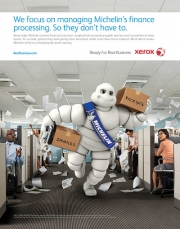 Look for the Michelin Man in Xerox's new print ads.