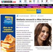 A fake news story on Univision about Miss Universe, Venezuela's Stefania Fernandez, leads consumers to Kraft's microsite.