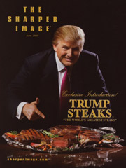 No joke: The Donald on the cover of the Sharper Image catalog.