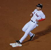 Free tacos for everyone! Red Sox rookie Jacoby Ellsbury steals second base in the second game of the World Series.
