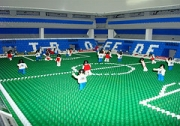 A model of Tiro's stadium made of Rasti, a Lego-like toy made in Argentina.