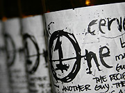 Gritty: The One Movement beer comes in clear bottles with handwritten labels to create a microbrewery feel.