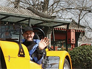Driving Miss Daisy: Peter Schindler in his 'super light' Caterham sports car.