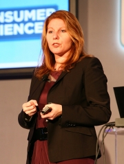 Cheryl Guerin, SVP-U.S. marketing at MasterCard, speaks at the Ad Age Digital Conference Tuesday morning in New York.