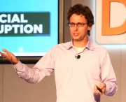 Jonah Peretti, CEO of BuzzFeed, speaks to the crowd at the Ad Age Digital Conference in 2012.