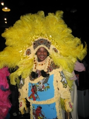 A New Orleans Mardi Gras Indian at the party