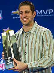 Green Bay Packers quarterback Aaron Rodgers was named MVP of Super Bowl XLV.