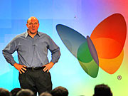 Microsoft CEO Steve Ballmer speaking to ad executives at the Strategic Account Summit. ALSO: Comment on this column in the 'Your Opinion' box below.