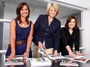 New editor Sarah Humphreys, left, with boss Martha Stewart and design director Debra Bishop.