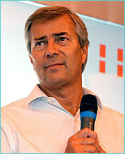 Vincent Bollore told reporters that he and the Aegis' shareholders who rejected his bid for board seats have 'had our first date and we consider this to be a long love affair. We're not in a hurry, and our arguments will remain the same.'