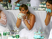 The contestants had two minutes to eat as much cake as possible.