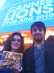 Maria Bernal and Jose 'Pepe' Funegra with their Gold Lion.