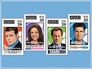 A 'CBS Delivers' truck will hand out free postage stamps around New York featuring 'Two and a Half Men' star Charlie Sheen and other celebrities.