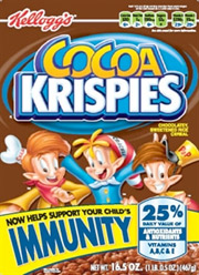 Cocoa Krispies packaging with the claim that the cereal helps boost a child's immunity.