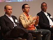 Panelists Paul Cushman, Richard Ting and Larry Harris