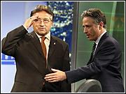 Pakistani President Pervez Musharraf and Jon Stewart
