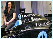 Danica Patrick unveils her new, Motorola-sponsored race car at today's ceremony in Chicago.