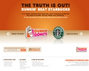 At Dunkinbeatstarbucks.com consumers are given the opportunity to send an e-card to 'your less fortunate Starbucks friends.'