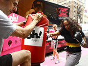 Screaming phrases like, 'Learn a move; earn a prize' and 'Mad at your boss? Come hit the bag,' the street team helped stressed media execs, frustrated New York commuters and passers-by release their anger with a quick sparring lesson.