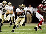 The game between the New Orleans Saints (with Reggie Bush, above) and Atlanta Falcons was cable's second-highest-rated program ever.