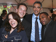 Parker Posey, Cole Hauser, Fox Entertainment President Peter Liguori and Anthony Anderson celebrate at Fox's 2007 upfront party at Wollman Rink in Central Park.