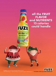Print work for Fuze also features the fruit characters.