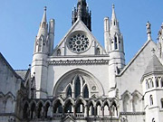 High Court in London, where the sensational libel trial is taking place.