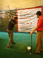 Commuters in Grand Central got to work on their golf swings last week in an HSBC-sponsored event for the Women's World Match Play Championship.