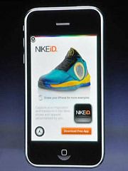 Apple CEO Steve Jobs showed off what he described as an unauthorized mock-up of a Nike ad at the unveiling of the new ad format.