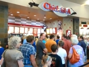 Chick-fil-A supporters in line at a mall location last year.