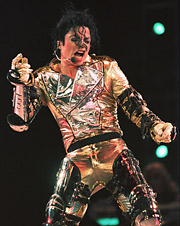 Michael Jackson performs in Singapore in 1996.