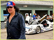 Gene Simmons on the job at a speedway.