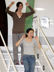 American journalists Laura Ling (top) and Euna Lee arrive in California after being freed by North Korea.