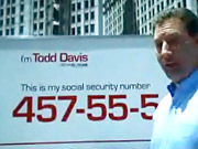 A mobile billboard displays Lifelock CEO Todd Davis' Social Security number in an ad for the company.