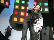 Bono of U2 performs at Live 8 in 2005.