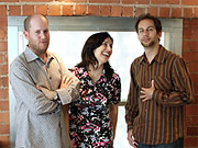 Joanna Shields, president-international of Bebo, with Greg Goodfried (left) and Miles Beckett, the creators of Lonelygirl15 and its spinoff.