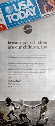 In the wake of the second major toy recall in two weeks, Mattel is running full page newspaper ads to reassure parents.