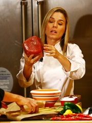 Cat Cora from from 'Iron Chef America' prepares some tuna.