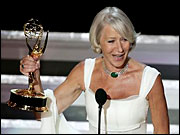 British actress Helen Mirren, who won the Emmy for outstanding lead actress in a miniseries or a movie for her work on 'Elizabeth I,' is at the center of a controversy because of remarks she made on stage.