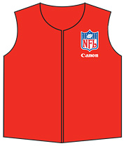 Canon's logo was included on the vest as a way of recognizing a 23-year NFL sponsor.
