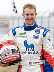 Professional race-car driver and social-media fanatic Charlie Kimball tweets for Novo Nordisk.