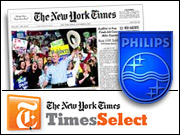 The latest in Philips' 'Sense and Simplicity' media campaign is to bring down the TimesSelect pay wall.