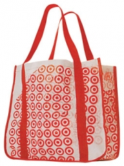 Newsweek subscribers can actually fashion the cover of the April 14 issue into an envelope to send plastic bags to Target in return for a reusable tote bag.