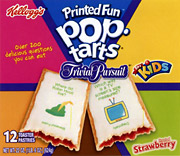 Trivia questions appear on Pop-Tarts' icing, along with colorful graphics.
