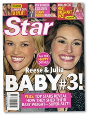 Reese Witherspoon has sued 'Star' over this cover, claiming that the actress is pregnant. So far, no word from Julia Roberts.