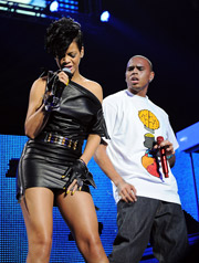 Chris Brown, shown here performing with Rihanna at Madison Square Garden in New York last December, has had his campaign put on hold by Wrigley.