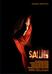 Veteran actor Tobin Bell, the villain in 'Saw,' donated his blood for posters that feature his character wearing a crimson shroud under the tagline