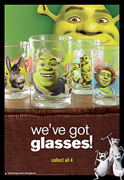 Part of McDonald's promotion with 'Shrek the Third' includes collectible glasses.