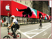 New York's crackdown on illegal outdoor signs, like this one on Lafayette Street, comes as the city begins a 20-year revenue-sharing contract in which it gets 20% of the $20 billion the contractor, Cemusa, expects to make from ads on bus shelters and other structures. | ALSO: Comment on this story in the 'Your Opinion' box below.